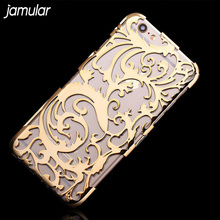 JAMULAR PC Hard Plastic Back Cover Phone Case For iPhone 6 6s 8 7 Plus Capa Artistic Carving Hollow Out Plating Case Bag(China)