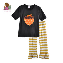 Retail Wholesale Spring Fall Cheap Outfit Pumpkin Pattern Boutique Cotton Halloween Baby Girls Clothes Sets H021