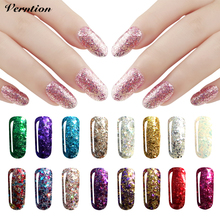 Verntion Nail Gel Polish Glitter Nail Gel Lacquer Sequins Gel Nail Art Varnish Soak off 3D Diamond Glitter UV lucky Gel Polish