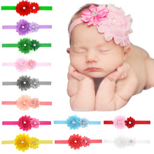 Newborn Baby Flower Headband Pearls Hair Accessories Gift for Baby Girls Infant Girl Hairband bandeau bebe fille 20 colors