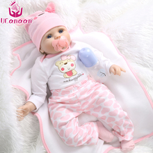 "UCanaan 55cm Soft Silicone Doll Reborn Baby 22"" Toy For Girls Newborn Girl Baby Birthday Gift For Child Bedtime Early Education(China)"