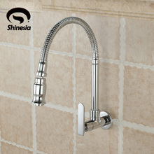 Modern Chrome Finish Kitchen Sink Vessel Faucet Single Cold Tap Single Handle Single Hole Wall Mounted