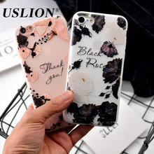 USLION Fashion Butterfly Flower Phone Case For iPhone 7 6 6 Plus Frosted Ultrathin Soft TPU Back Cover Cases For iPhone7 Plus