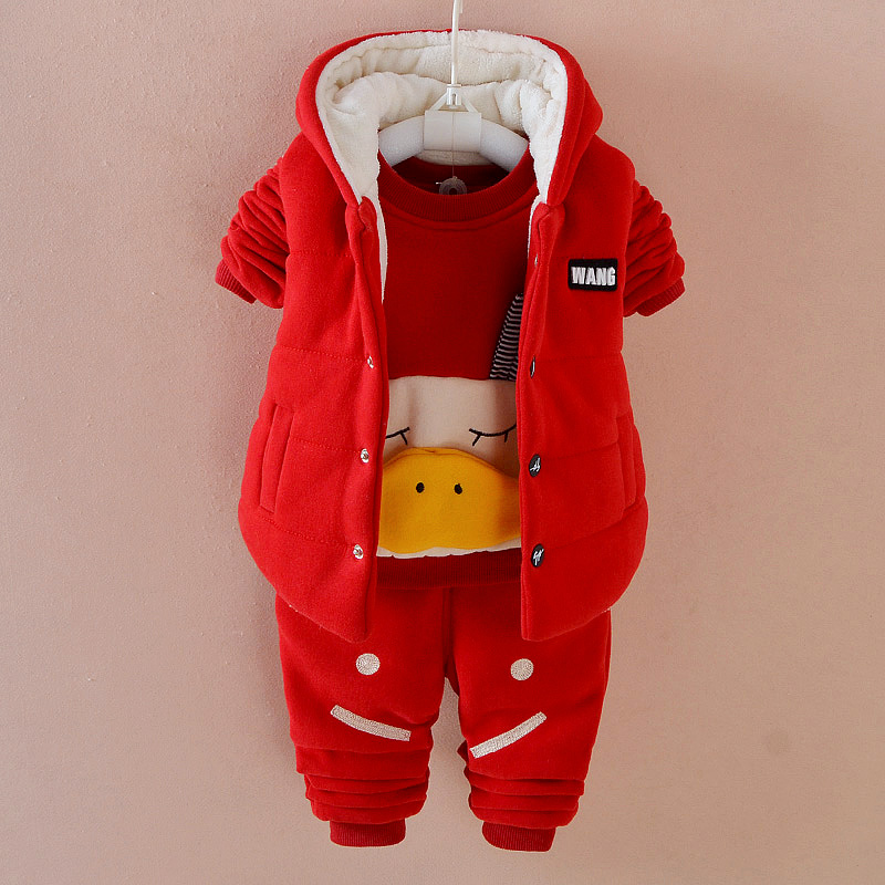 Cartoon Duck 1-3year Children Winter Warm Clothes 3-piece Hooded Baby Set Infant Casual Fashion Suit TZ005<br>
