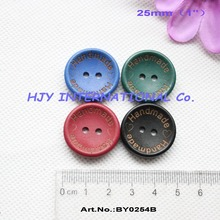 "(4colors,100pcs/pcs) 25mm Handmad buttons wooden sew on button black,blue,green,maroon crafts1""-BY0254B"