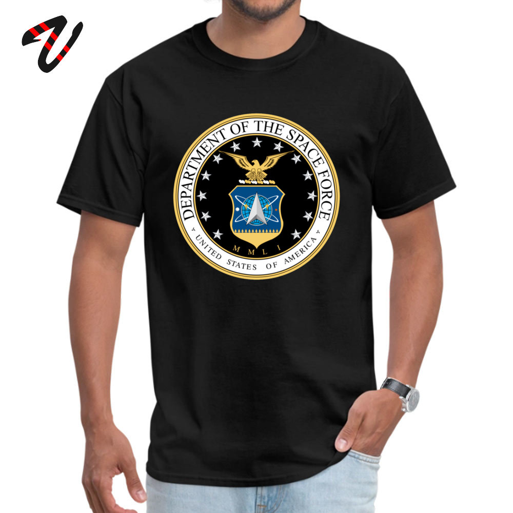 Prevailing Male Tops & Tees Space Force Crazy T Shirt Pure Cotton Short Sleeve Personalized Tops Tees Crew Neck Space Force17903 black