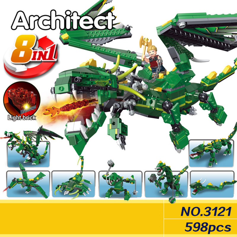 Decool 3121 598pcs 8in1 Ninja Green Dragon With Light Building Blocks set DIY Bricks Toys for children Funny Toys Gift<br>