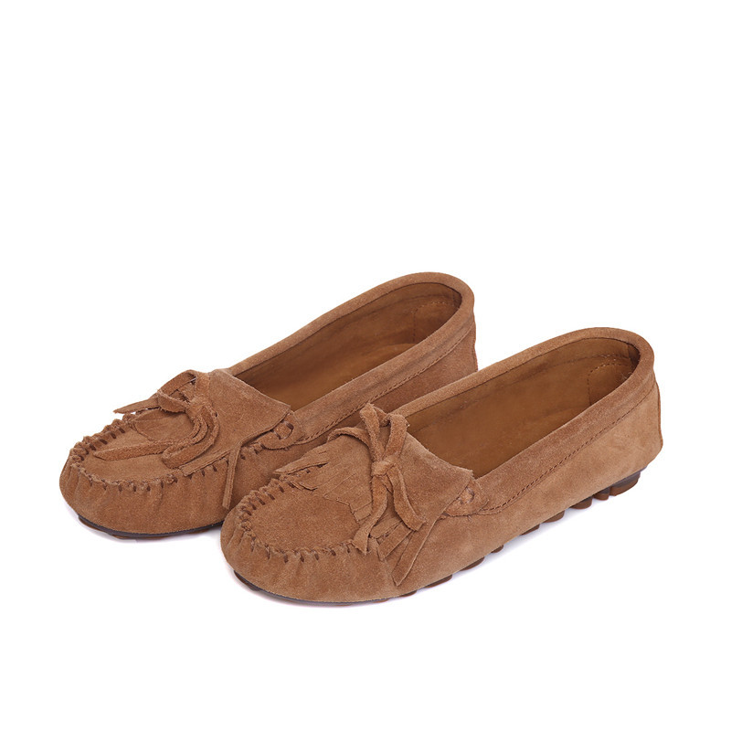 Winter Moccasins Shoes Genuine Leather women Flat Shoes Casual Loafers Slip On Driving shoes Mother Loafers Soft Leisure<br>