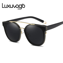 LUXUVOGO 100% Real Polarized Sunglasses Women Mirror Sun Glasses Luxury Sunglasses Women Brand Designer Sun Glasses Ray(China)