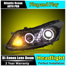 car styling For Honda accord headlights U angel eyes DRL 2010-2012 For Honda accord LED light bar DRL Bi-xenon Double lens HID K(China)