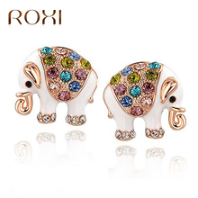 ROXI Colorful Crystal Stud Earrings Women Jewelry Cute Elephant Stud Earrings Animal Brinco Rose Gold Color Statement Earrings(China)