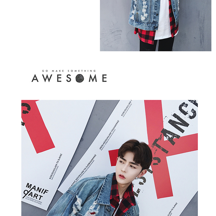Men High Street Hip Hop Hole Wash Denim Jacket Fashion Casual Loose Broken Hole Jean Coat Denim Jacket Outerwear