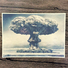 "New arrival RMG-170 retro kraft paper ""Bomb mushroom cloud"" home decorative pictures for bedroom wall art craft sticker 42x30 cm"