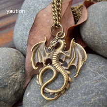 1Pcs Bronze Dragons pendant necklace jewelry antique retro Handmade necklace(China)