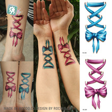 harajuku waterproof temporary tattoos for lady women blue 3d Lovely bows ribbon design tattoo sticker Free Shipping RC2208