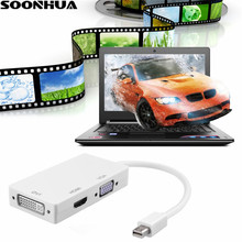 Mini DP to HDMI VGA DVI 3 In 1 Converter Adapter Cable 1080P Mini Displayport to HDMI/VGA/DVI For MacBook PowerBook Projector(China)