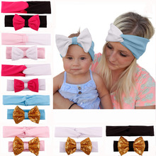 2 Pieces/Set Mom And Me Cotton Headband With Bow Elastic Knotted Stretch Hairband Headwear For Baby Women Accessories
