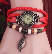 promotion price High Quality Genuine Leather Vintage Watch Women bracelet Wrist Watch D7553