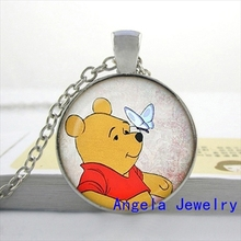 NS-00435 New Fashion Cute Cartoon Bear Necklace Winnie the p Jewelry Girls Glass Cabochon Necklace HZ1