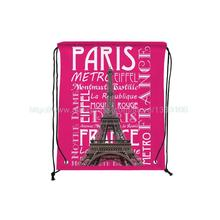 4Pcs Retro Paris Style Custom Outdoor Beach Gym Swimming Clothing Shoes Towel Storage Bag Drawstring Backpack