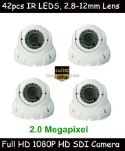4pcs DHL/EMS/FedEx/UPS Express Free Shipping 1080P 2 Megapixel CCTV HD SDI Camera with 2.8-12mm Lens, 42pcs IR Leds, RS485
