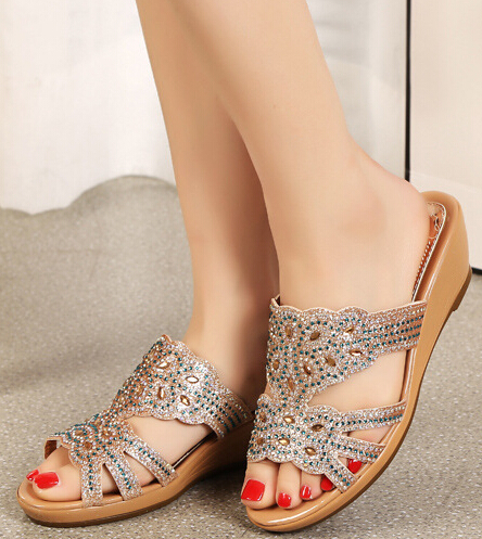 Wedges Open The Toe Cut Out Women Summer Crystal Slippers Shoes Lady Rhinestone Sexy Flip Flops Sandals Plus Size 35-43 SXQ0921<br>
