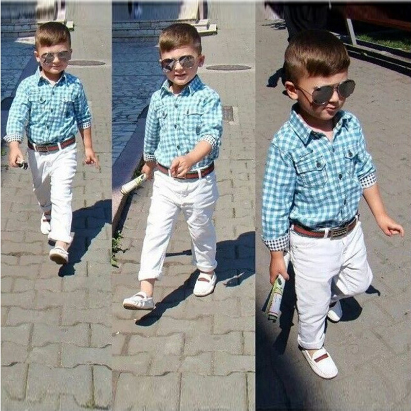 2017 boys wear long sleeved plaid shirt  pant set  white trousers with belt 3 piece suit<br><br>Aliexpress