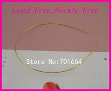 10PCS golden 1.2mm thickness Single Metal Wire Hair Headbands with 3mm ball ends at lead free and nickle free,bargain for bulk
