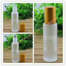 15ml clear frosted glass bottle with glass/stainless roller+matte gold aluminum(smooth) lid,roll-on/oil/perfume/deodorant bottle