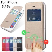for Apple iPhone 5 5s cases Stent TPU leather Flip case Window protect Cover black Case for iPhone5 iPhone5s(China)