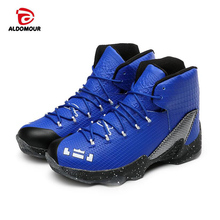 ALDOMOUR 2017 Men Women High Top Basketball Shoes Sneakers Basketball Sports Shoes Men Leather Sport Boots Athletic Shoes(China)
