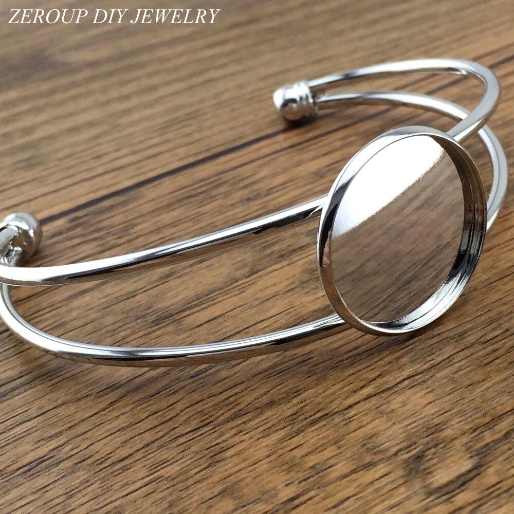 Zeroup 1 шт. 20 мм 25 мм с серебряным покрытием Браслеты браслет пустой круглый Стекло кабошон лоток Фурнитура для бижутерии B-003(China)