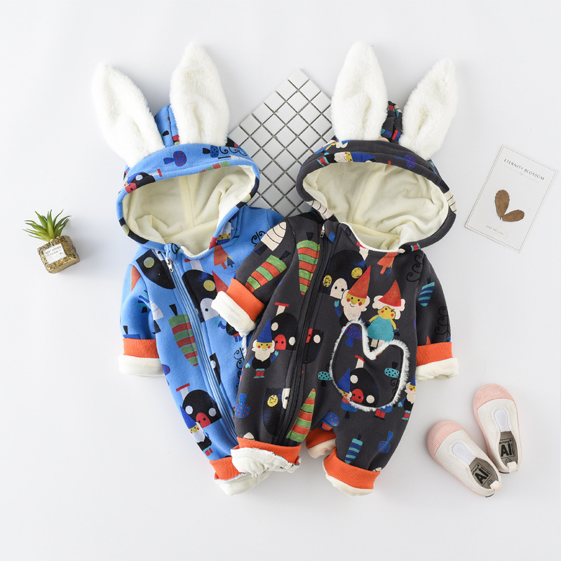 Newborns out of service suits baby clothes baby Siamese clothing plus velvet thick warm climb clothes winter Christmas<br>