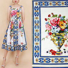 silk satin fabric blue majolica printed fabric DIY women clothing dress polyester fabric, summer flowers colorful fabric(China)