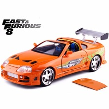New Jada 1:24 FAST AND FURIOUS F8 Brian's Toyota Supra-Orange 1995 Diecast Model Car Toy For Kids Toys Collection Free Shipping