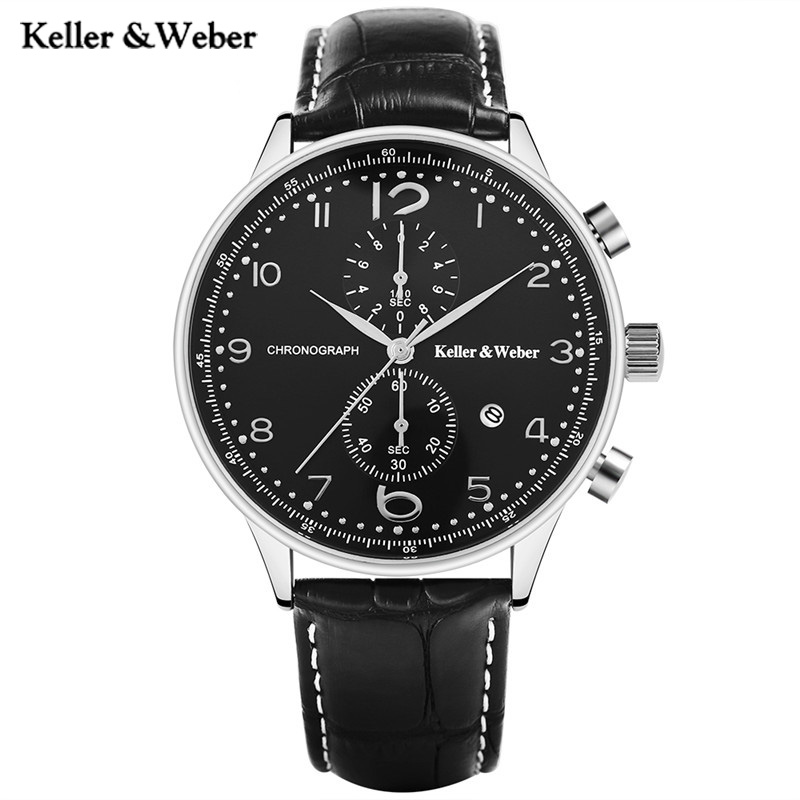 Keller &amp; Weber High Quality Sport Men Quartz Watch Genuine Leather Watchband Chronograph Date Military KW Wristwatch Male Gift <br>