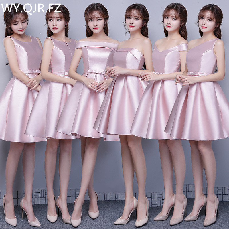 ASL#lace up long short bridesmaid dresses spring summer 2019 wedding party prom dress girl cheap wholesale cameo brown champagne