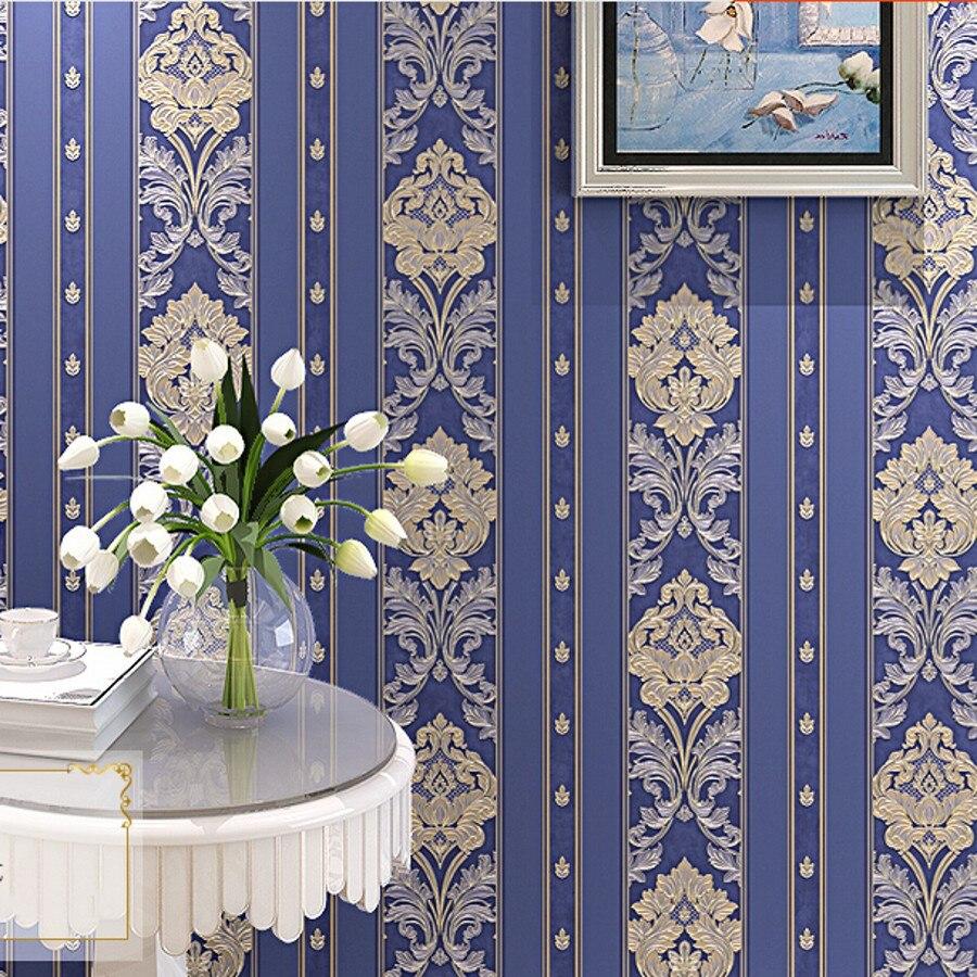 beibehang luxury blue gold Damascus Non-woven wallpaper TV background wallpaper roll wall paper papel de parede 3d contact paper<br>