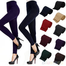 Einfarbig frauen Stretch Verdicken Leggings Warme Dünne Hosen Footless(China)