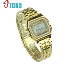 OTOKY Vintage Silver Gold Womens Men Stainless Steel Digital Alarm Stopwatch Wrist Alloy electronic Watch drop ship june20 P30