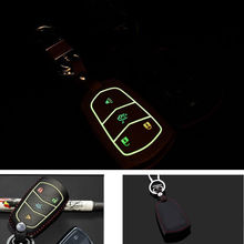 BBQ@FUKA Leather Car Night Glow Remote Key Fob Holder Cover Case With Keychain Keyring Fit For Cadillac 2015 Srx Atsl Xts Cts