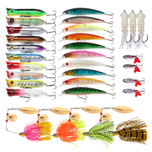 Goture 33pcs Lure Kit Set Minnow/Popper/Spinner Bait/Metal Spoon/Squid Soft Lure/Crankbait/Frog Lure Fishing Hard Artifical Bait(China)