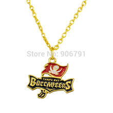 20pcs a lot gold or rhodium plated enamel single-sided Tampa Bay Buccaneers logo pendant sports necklace(China)