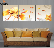 Hand-painted Group Oil Painting picture print on canvas 3 Panel Wall Art Painting Golden lotus nine fish print On Canvas