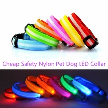 FG89 New Cheap Pet Dogs LED Collars Nylon Collar Night Safety Glow Flashing Collar for Puppy Dog Cat Led Luminous(China)