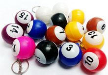 50X Plastic pool billiard number ball key ring keychain VINTAGE Charms chain Retro Fashion Party Birthday Pinata Game Gift Prize
