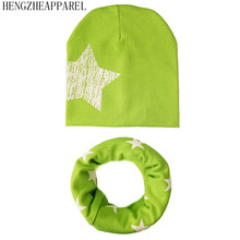 New Baby hat set Kids Child 100% Cotton Baby Hat Scarf Set Boys Girls Kids Hat Collars children Hats Beautiful Star Printed Caps