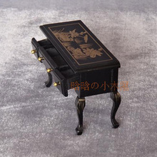 Living Room-Retro coffee table black desk Nostalgia painted decoration dollhouse miniatures 1/12 scale #CT08