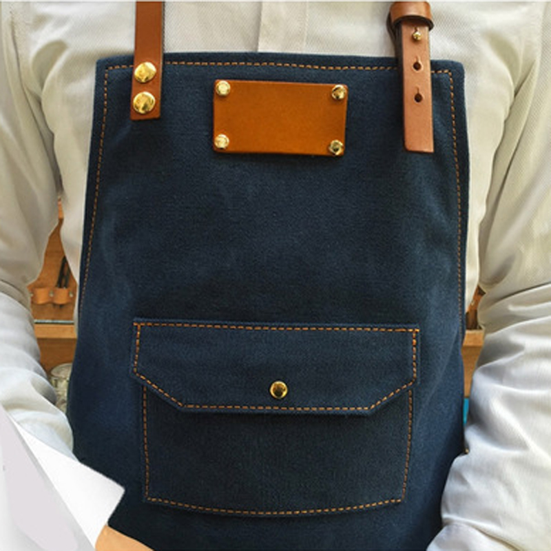 Practical Working Denim Bib Apron With Leather Strap For Barista Chef Barber Pocket Studio Uniform