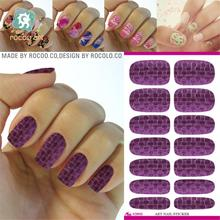 K5643/Free Shipping Nail Tool Purple Plaid Design Water Transfer 3d Nail Art Sticker Minx Fashion Manicure Decoration Decals(China)